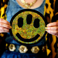 Custom Alien Holographic Smiley Face Patch Sequin Patch