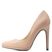 Taupe Python Textured Pointed Toe Pumps by Charlotte Russe
