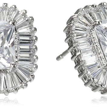 "CZ by Kenneth Jay Lane ""Basic"" Multi-Cubic Zirconia Pierced with Ballerina Halo Stud Earrings (5cttw)"
