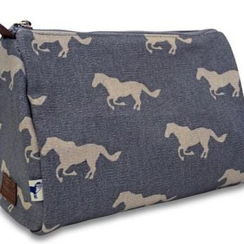 grey horse cosmetic pouch