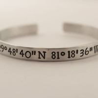 Custom Coordinate Bracelet - GPS Location - Coordinate Jewelry