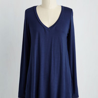 Embracing Basic Top in Navy | Mod Retro Vintage Short Sleeve Shirts | ModCloth.com