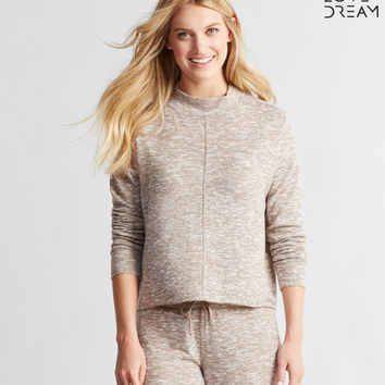 LLD Long Sleeve Marled Mock-Neck Popover Top