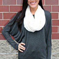 Jersey Cotton Infinity Scarf- Ivory