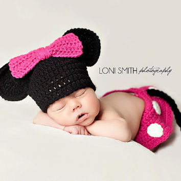 Baby Minnie Mouse Inspired Costume Set Hat by WarmFuzzyBoutique