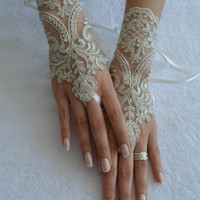 ivory silver frame wedding glove, Original design Wedding Gloves ivory lace gloves Fingerless Gloves Free Ship