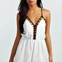 Rose Caged Deep Plunge Playsuit