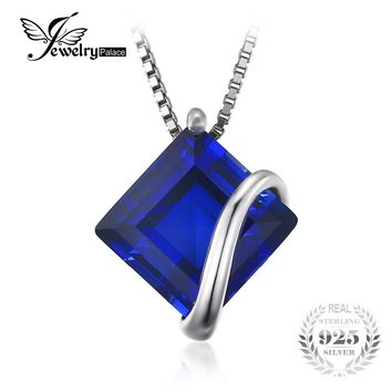 JewelryPalace Classic 3.3ct Square Created Sapphire Pendant 925 Sterling Silver Charms Engagement Wedding Jewelry Without Chain