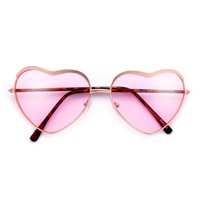 Cute Metal Browline Heart Shaped Colorful Lens Sunnies – Sunglass Spot