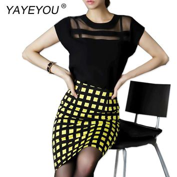 YAYEYOU New fashion Summer Women Black White Tulle Sheer Blouses Shirts Ladies Tops Chiffon Blouse Short Sleeve Plus Size