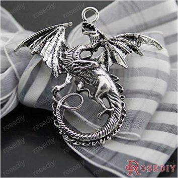 (27063 G)2pcs 47*43mm Antique Silver Plated Zinc Alloy Necklaces Pendants Dragon Pendants Diy Handmade Jewelry Findings