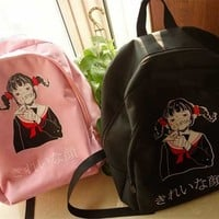 Japanese school girl pretty face backpack sold by Dejavu Cat