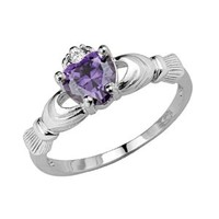 .925 Sterling Silver Rhodium Plated Simulated February Amethyst Color Heart Irish Celtic Claddagh Ring