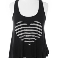 Plus Size Trendy Layered Striped Heart Tank Top, Plus Size Clothing, Club Wear, Dresses, Tops, Sexy Trendy Plus Size Women Clothes