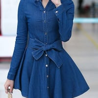 Long Sleeve Button-Up Tie-Up Waist Denim Dress