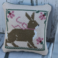 Completed Prairie Schooler Cross Stitched Rabbit by Stitchcrafts