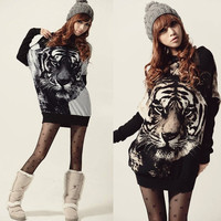 Korea Women Long Batwing sleeve Jumper Pullovers Tiger Print Sweater Top Blouse A_L = 1655758916