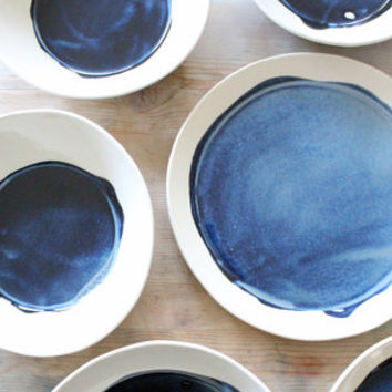 porcelain large dish modern deep blue. IN STOCK
