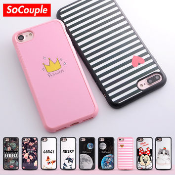 TPU Phone case for iphone 5s 5 SE 6 6s 6plus Smooth Case Funny Cat Cactus Plants Camera Pattern Silicone case for iphone 7 7plus