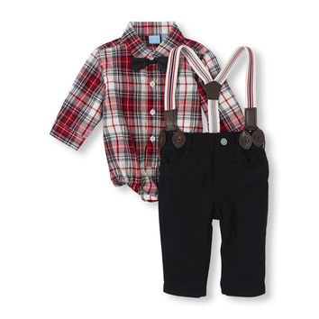 Long Sleeve Plaid Button Down Bodysuit, Bow Tie, Suspenders & Pants Set | The Children's Place