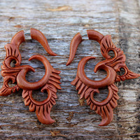 Fake Gauge earrings Organic owl Wood  tribal style faux earrings,plugs.hand carved,fake piercings,earrings