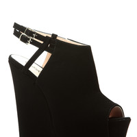 Black Faux Nubuck Peep Toe Platform Wedges