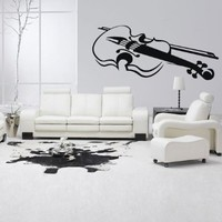 Wall Decal Decor Decals Art Music Tool Violin Contrabass Melody Bedroom Design Mural (M971)