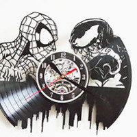 Spiderman & Venom Design vinyl record wall clock
