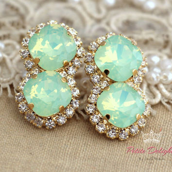 Opal Mint Green Swarovski studs, Estate mint earrings, swarovski earrings, bridal jewelry, gift for woman-14k 1 micron gold thick plated
