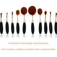 Rose Gold/Gold Make-up Beauty 10-pcs Teethbrush Gold Make-up Brush [6351396100]