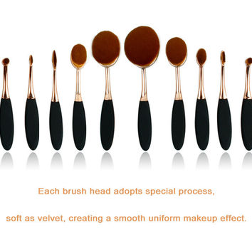Rose Gold/Gold Make-up Beauty 10-pcs Teethbrush Gold Make-up Brush [8776961543]