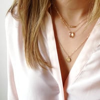 Gemstone Layered Necklace Set in 14k Goldfill or Sterling Silver