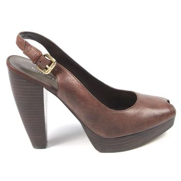 Nine West Womens Slingback Sandal NWUNIDA DARK BROWN