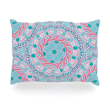 "Miranda Mol ""Prismatic White"" Blue Pink Abstract Oblong Pillow"