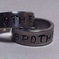 Brother To Brother Ring - Family Gift - Aluminium Cuff Ring - Hand Stamped