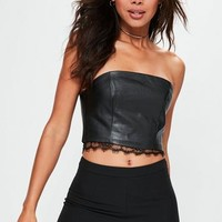 Missguided - Black Faux Leather Lace Trim Bandeau Crop Top