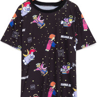 Cartoon Printed Loose Fitting Black T-Shirt