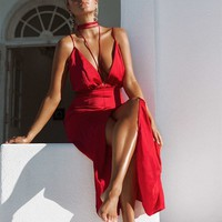 Avellana Maxi - Red - Dresses by Sabo Skirt
