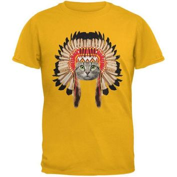 CREYCY8 Thanksgiving Funny Cat Native American Gold Youth T-Shirt
