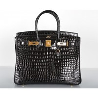 Hermès Black Porosus Crocodile 35cm Birkin Bag Gold Hardware