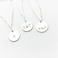 Silver Custom Necklace • Sterling Silver Personalized Necklace • Engraved Disc Pendant • Silver Name Necklace • Bridesmaid Personalized Gift