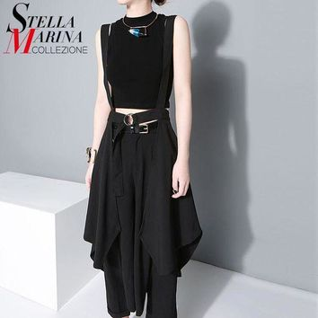 DK7G2 2016 New Women European Fashion Black Maxi Skirt High Waist Suspender Straps Ruffles Chiffon Skirts Female Sun Skirt Femme 1431