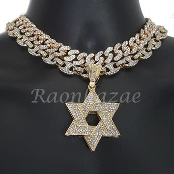 """Iced Out Anchor David of Star 16"""" Iced Out Choker 18"""" Puffed Gucci Chain Set G62"""
