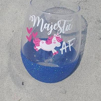 Majestic AF Unicorn Wine Glass, Glitter Wine Glass, Unicorn Wine Glass, Glitter Unicorn