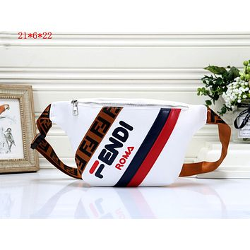 Fendi 2019 new female color matching casual fashion chest bag shoulder bag white