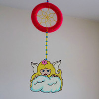 Baby Angel Dreamcatcher - Nursery Mobile - Glass Painted Angel Dream Catcher - Hanging Baby Room Decoration - Suncatcher Mobile