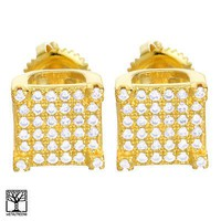 Jewelry Kay style Men's CZ 14K Gold Plated Square 3D Block Iced Screw Back Stud Earrings BE 032 G
