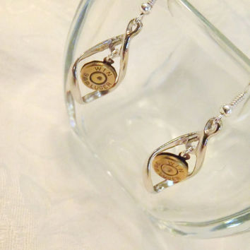 Ammo Bullet Swirl Earrings - Bullet Casing with Elegant silver toned swirls - 9mm, 45 cal, 40 caliber, 30-30, 38, or any other caliber