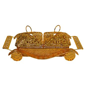 Compartment Style Snacks Metal Gold Tray Fruit Box With Cover