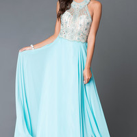 Long Beaded Illusion Bodice Dave and Johnny Prom Dress